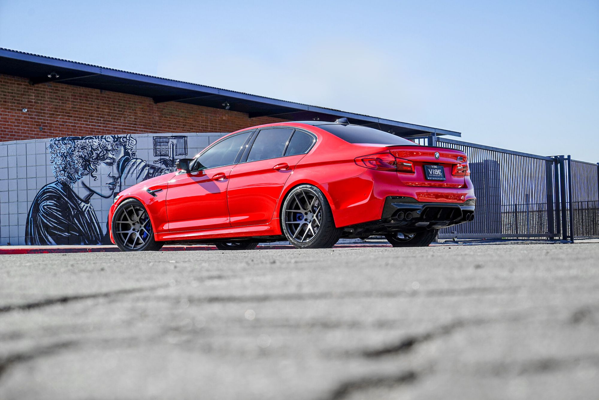 Bmw M5 F90 Red On Bc Forged Hb05 Aftermarket Wheels Wheel Front
