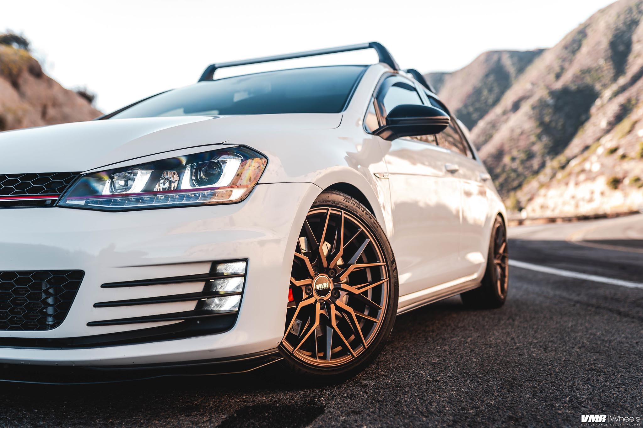 Volkswagen Golf Gti Mk7 White With Bronze Vmr V802 Aftermarket Wheels Wheel Front